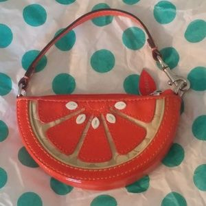 COACH SIGNATURE ORANGE SLICE WRISTLET CORN PURSE